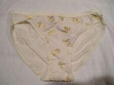 NWT VICTORIA'S SECRET XS Cotton Cream With Gold Foil Floral Print Bikini Panty