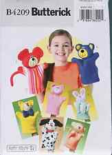 HAND PUPPETS Bear Pig Cat Dog Monkey Bunny BUTTERICK Pattern 4209 NEW