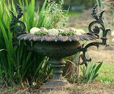 """c1860 Rococo Victorian garden urn, cast iron, Jw Fiske, Ny, 32"""" w,"""