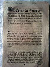Franz II,röm. Kaiser königl. Erlaß aus dem Jahr 1803 zu Toskana u. Militär
