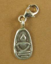 Silver Buddha clip-on charm. Thai style. Solid fine & sterling silver 925.