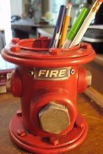 VINTAGE STYLE RED FIRE HYDRANT METAL PENCIL PEN HOLDER FIREMAN POLICE MUST SEE