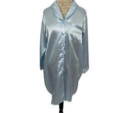 Heiress Women's Nightgown sz S Shirt Style Satin Robins Egg Blue