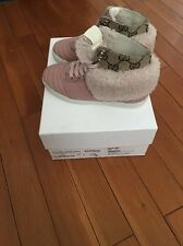 Gucci Baby Toddler 27 US 10 Girl Pink Sneakers High top Shearling Suede New Auth