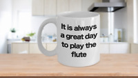 Flute Mug White Coffee Cup Funny Gift for Flutist Player Musician Performer