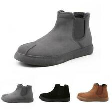Mens Slip On Warm Outdoor Ankle Snow Boot Casual Flats Walking Waterproof Shoes