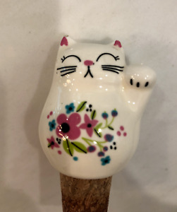 """""""I Just Want to Drink Wine & Pet My Cat"""" Bottle Stopper Floral White"""