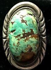 Vintage Large Navajo Sterling Silver Turquoise Ring Handmade                 #Fm