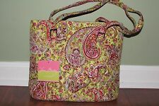 Vera Bradley PISTACHIO PAISLEY SILK SHOULDER TOTE Limited Edition Purse - NWT