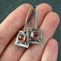 Vintage 925 Silver Ethnic Square Ruby Dangle Drop Earring Ear Hook Studs Jewelry
