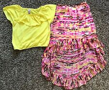 Girl's Size 10/12 Two Piece Knit Works Yellow Top & Skirt (High Front Low Back)