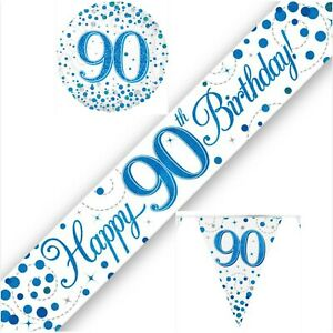 90th Birthday Party Decorations Flag Buntings Banners Balloons white Blue Age 90