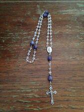 +Vintage Catholic Lent Purple & Crystal Clear Rosary Beads, Handmade+