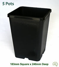 183mm Square Black Plastic Pot x5