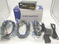CKLau 2 Port Dual Monitor KVM Switch HDMI + VGA with Audio, Microphone, USB 2.0