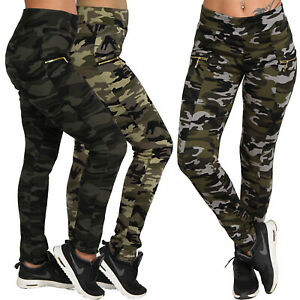 High Waist Jogging Sports Pants Army Zip Camo Camouflage 952