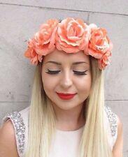 Coral Peach Rose Flower Garland Headband Hair Crown Band Festival Boho Big 2827