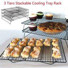 3Tier Cake Cooling Steel Wire Grade Rack Stackable Kitchen Folding Shelf Baking