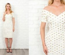 Vintage 80s Gold Polka Dot Dress Ruched Off Shoulder Ivory Medium m