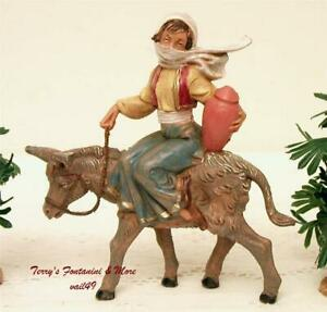 """FONTANINI DEPOSE ITALY 5"""" HARTSHORN SHEPHERDESS ON DONKEY VILLAGE FIGURE NO BOX"""