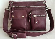 FOSSIL SUTTER Plum Leather Messenger Shopper Crossbody Satchel Tote Purse Bag.