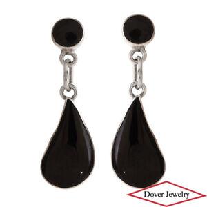 Estate Black Onyx Sterling Silver Teardrop Dangle Earrings NR