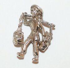 New listing Vintage Man Vendor Carrying Flower Baskets Sterling Silver Bracelet Charm