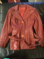 Vintage Fitted Womens Orange Brown Leather Coat Jacket Sz 6