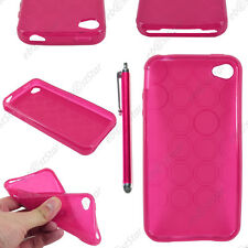 Housse Etui Coque Silicone Cercle Gel Souple Rose Apple iPhone 4S 4 + Stylet