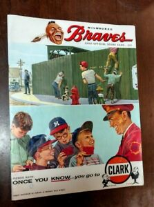 1960 Milwaukee Braves official score card - San Fran Giants - Clark Gasoline