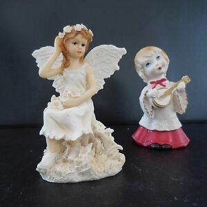 2 Statuettes Figurines Characters Anges Woman Man Love Romance