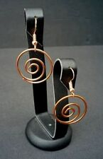 Fashion Rose Gold Colored Round Single Swirl Spiral on dangle fishhook earrings