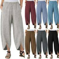 Plus Size Women's Cotton Linen Baggy Harem Trousers Pocket Loose Pants Summer