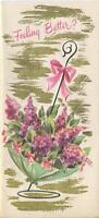 VINTAGE PARISIAN GREEN UMBRELLA PURPLE LILAC GARDEN FLOWERS ART CARD PRINT