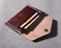men women wallet purse cow Leather Card bag Case holder customize brown red Z746