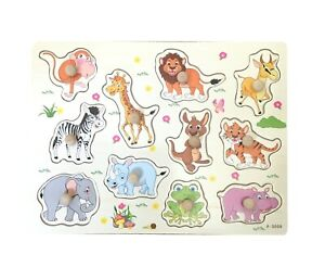 Wooden Childrens Animals Peg Board Jigsaw Puzzles