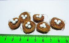 1:12 Scale  2 Hand Made Nest With Eggs Doll House Miniature