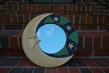 """Handpainte Wall Mirror - Carved Painted Sun Moon Yellow, Green, Red  11.5"""""""