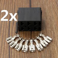 2xCarling Rocker Switch Connector ARB Plug Socket 2x8pcs Female Spade Terminals