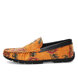Fashion Men's Colorful Soft Loafers Moccasin Driving Shoes Casual Leather Flats