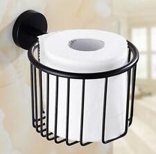 Black Bathroom Toilet Tissue Paper Roll Holder Basket Net Wall Mount Stainless