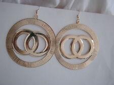 GOLD  DROP DANGLE  HOOP EARRINGS SIZE 85  mm  MIXED METAL & PLATED
