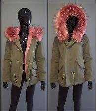 Italy Parka Jacke Damen Winterjacke blogger XXL Kunstfell khaki Gr. M REDUZIERT