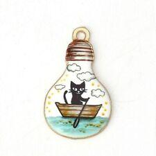 4 x Cat Boat Light Bulb Enamel Pendant Charms