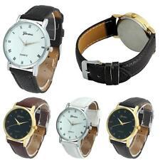 Geneva Watch Fashion Men Women Casual Leather Strap Quartz Analog Wrist Watches