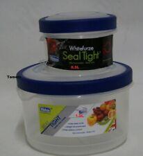 Lot de 2 Round Seal Tight Food Pot de stockage Pots 0.3 L et 1.2 L déjeuner Tubs