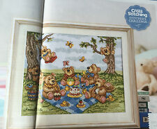 CROSS STITCH CHART Teddy Bears Picnic Picture Cake Jelly Swing Tree Bear PATTERN