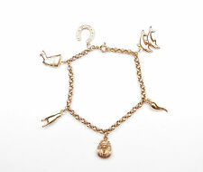 """Charm Bracelet Lucky Charms 9 Carat Yellow Gold 5.5g 7"""""""