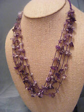 DEEP PURPLE, LAVENDER, LIGHT PURPLE AMETHYST CHIPS MULTISTRAND NECKLACE