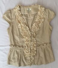 TWO G Beige Linen Ruffle/Bead Embellished Top Blouse Size S/C